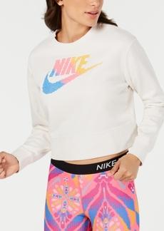Nike Women's Sportswear Print-Logo Cropped Sweatshirt