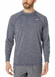 NIKE Swim Men's UPF 40+ Long Sleeve Rashguard Swim Tee obsidian heather