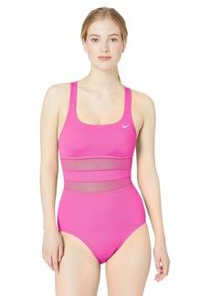 Nike Swim Women's Mesh Solid Edge V-Back One Piece Swimsuit