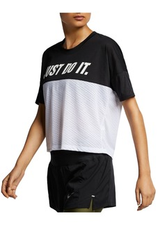 Nike Tailwind Mixed-Media Slogan Top