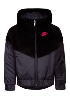 Nike Little Girls Faux-Sherpa Hooded Windrunner Jacket
