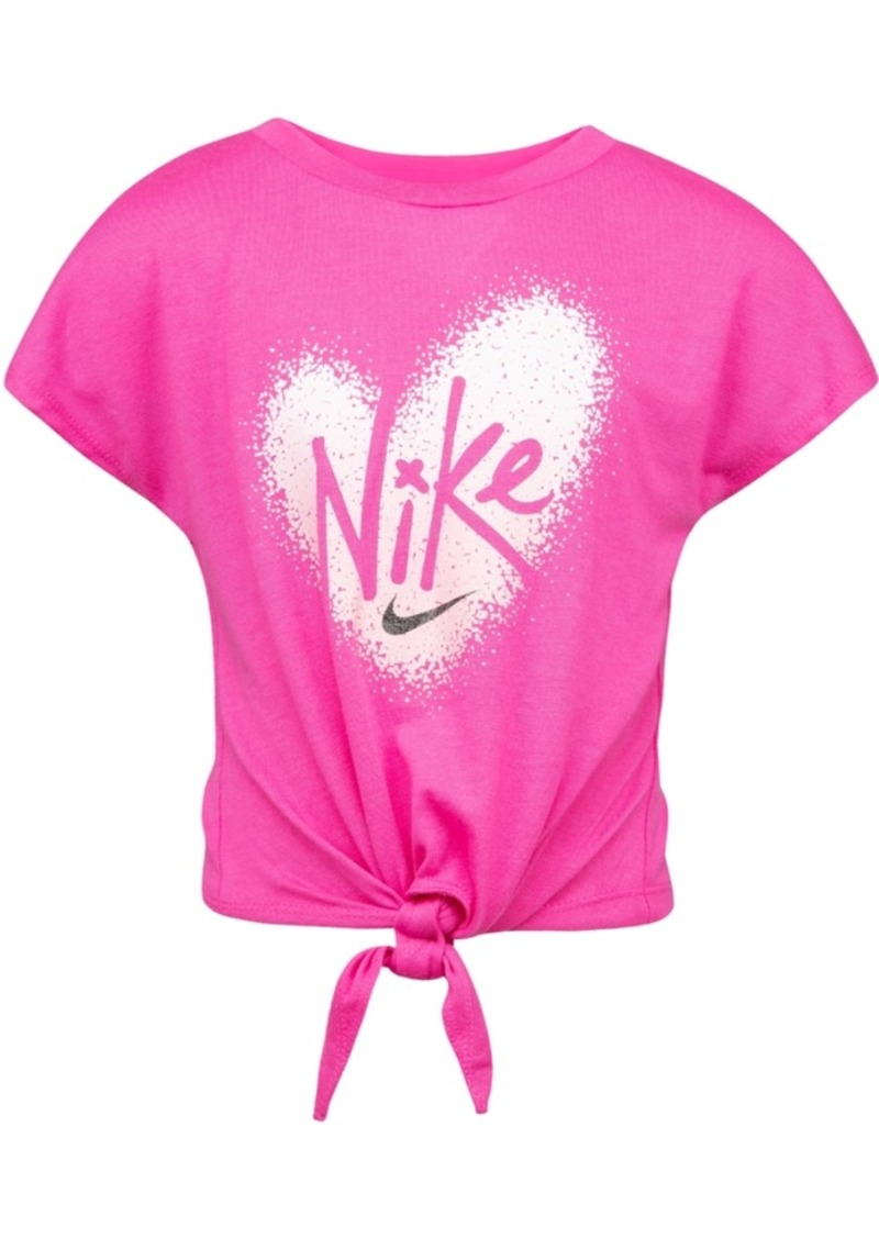 Nike Little Girls Pixel-Heart Tie-Front T-Shirt