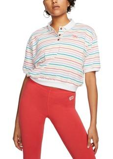 Nike Women's Cotton Striped Cropped Polo