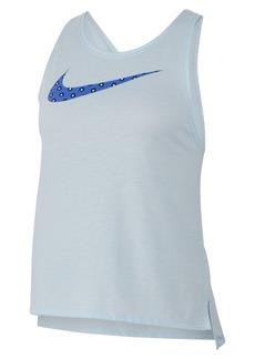 Nike Women's Dri-fit Printed-Logo Cross-Back Running Tank Top