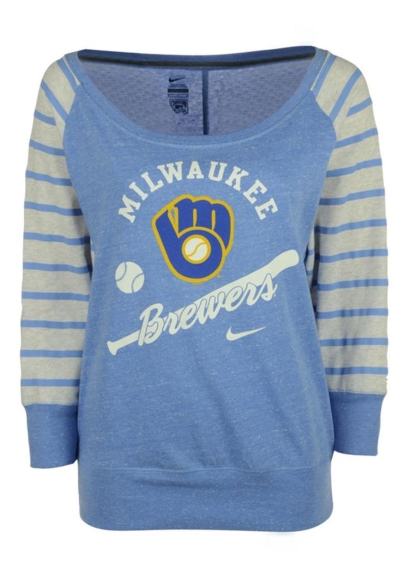 Nike Women's Milwaukee Brewers Coop Gym Vintage Crew Sweatshirt