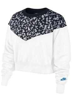 Nike Women's Sportswear Heritage Floral-Print Cropped Fleece Top