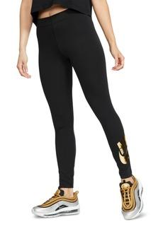 Nike Women's Sportswear Leg-a-See Metallic-Logo Leggings
