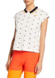 NikeCourt Cropped Cap-Sleeve Top