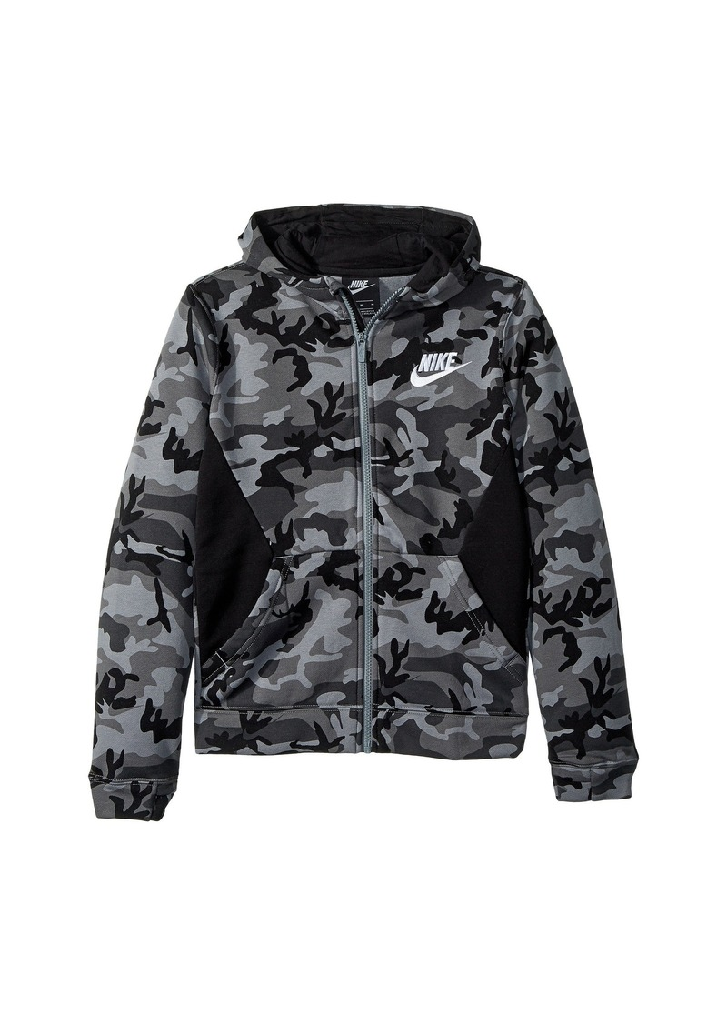30b64023f638 Nike NSW Club Fleece Full Zip Camo Print Hoodie (Big Kids)