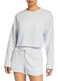 Nike NSW Long-Sleeve Cropped Logo Sweatshirt  Blue