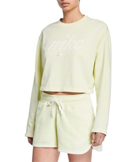 Nike NSW Long-Sleeve Cropped Logo Sweatshirt  Green