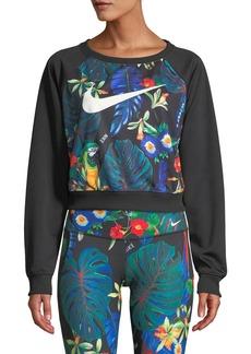 Nike Printed Raglan Cropped Crewneck Sweatshirt