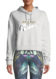 Nike Rally Metallic-Logo Crop Hoodie Sweatshirt