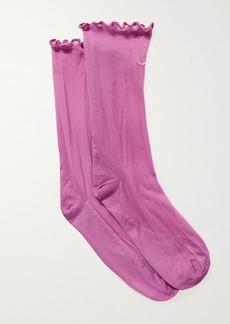 Nike Ruffled Embroidered Dri-fit Tulle Socks