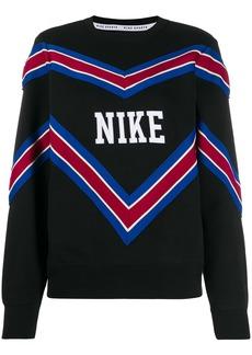 Nike stripe patterned logo patch sweatshirt