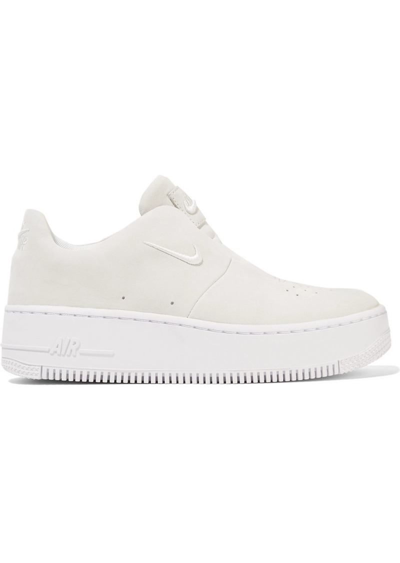 brand new e4df7 5605e The 1 Reimagined NikeLab Air Force 1 Sage suede slip-on sneakers