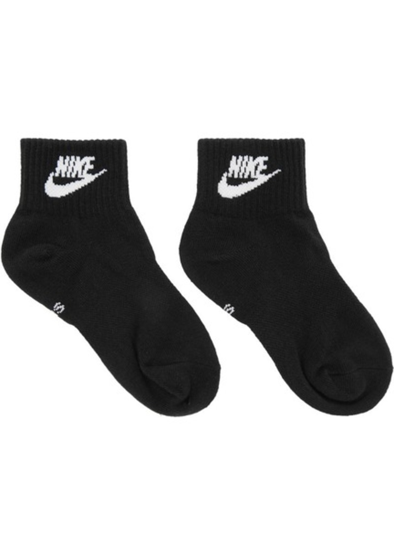 Nike Three-Pack Black Everyday Essential Ankle Socks
