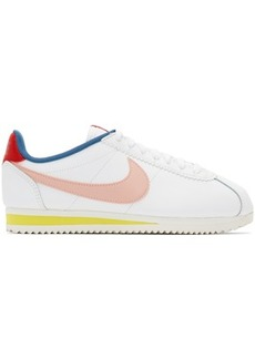 Nike White & Pink Classic Cortez Sneakers