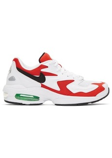 Nike White & Red Max2 Light Sneakers