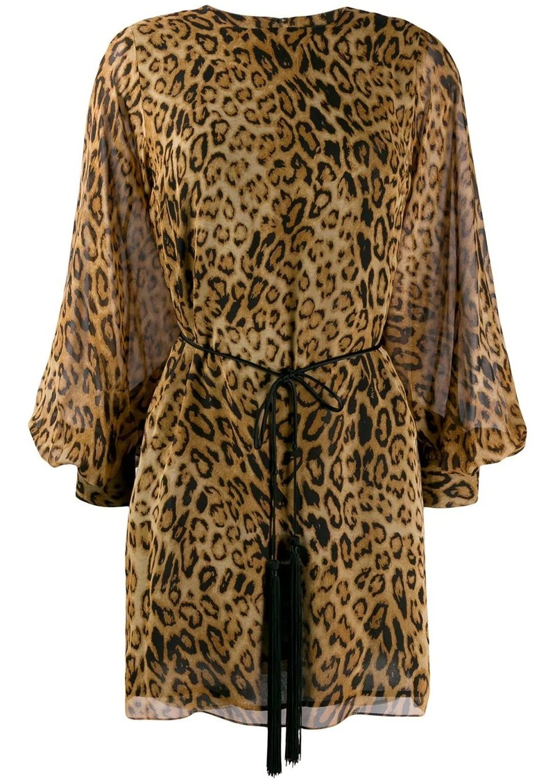 Nili Lotan belted leopard print dress