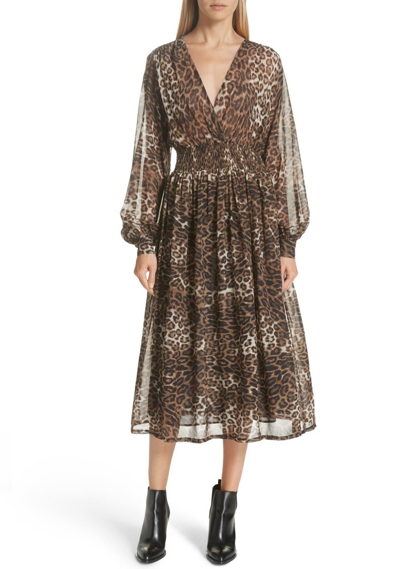 Nili Lotan Brienne Leopard Print Silk Chiffon Dress