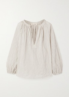 Nili Lotan Brooke Gathered Striped Cotton-blend Voile Top