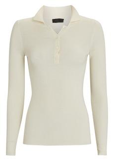 Nili Lotan Daisy Silk-Wool Polo Sweater