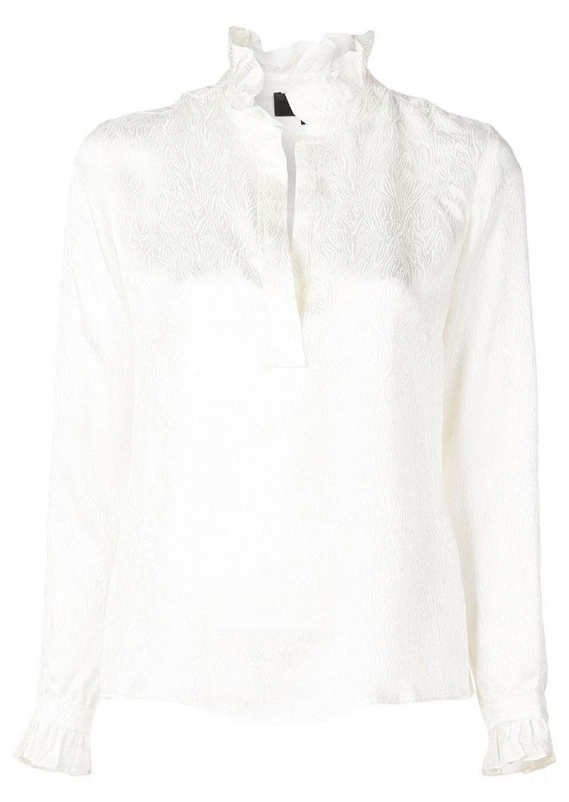 Nili Lotan embroidered frill-trim blouse