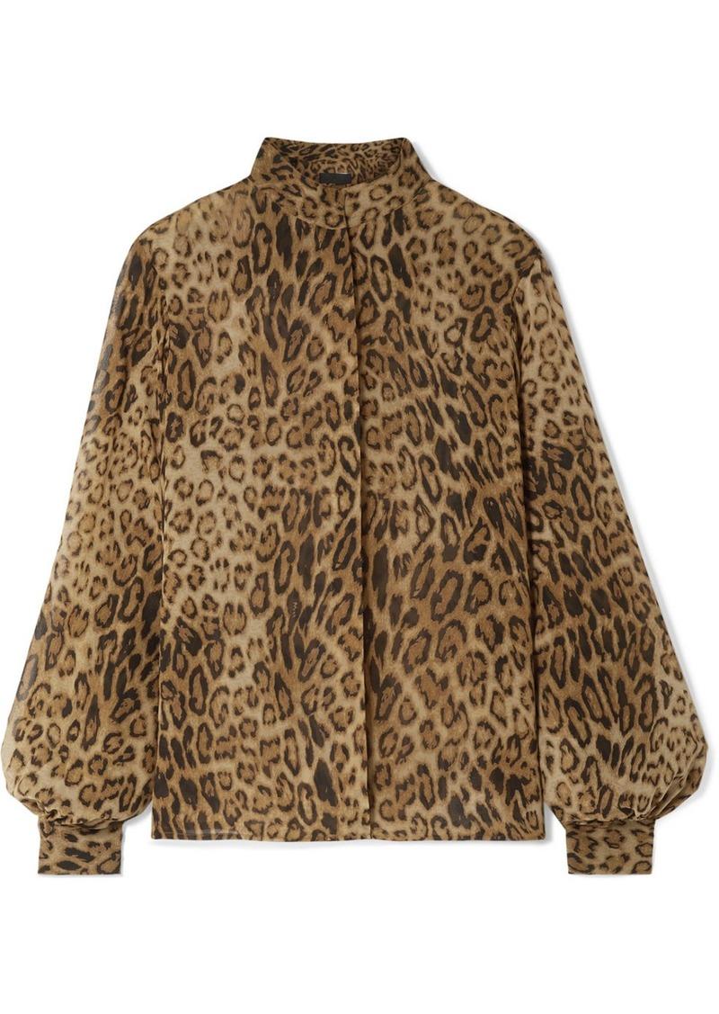 Nili Lotan Evelyn Leopard-print Silk-chiffon Blouse