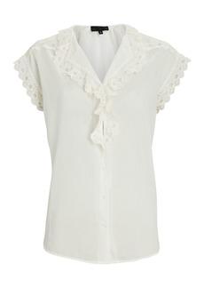 Nili Lotan Leanne Lace-Trimmed Cotton Blouse