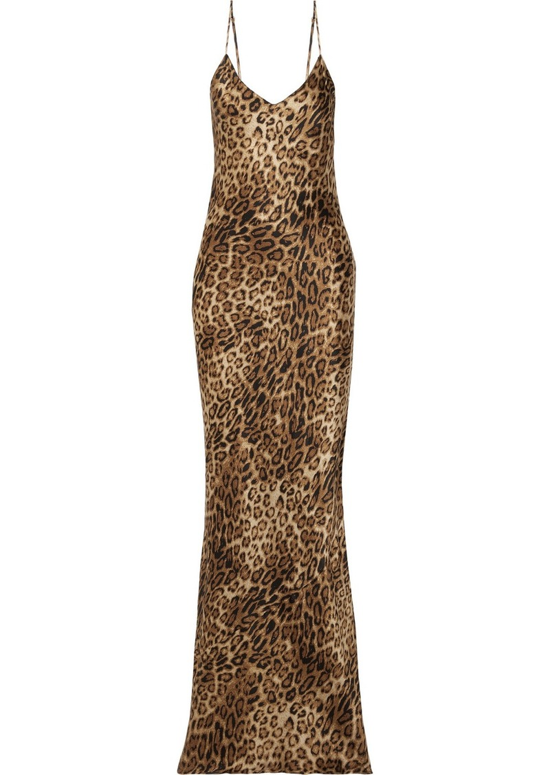 Nili Lotan Leopard-print Silk-satin Maxi Dress