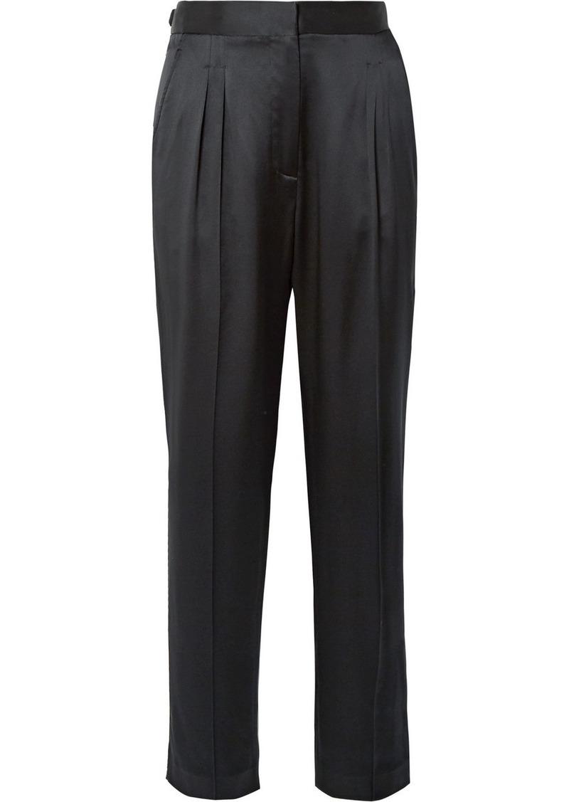 Nili Lotan Lia Silk-satin Slim-leg Pants