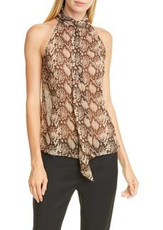 Nili Lotan Alameda Snake Print Silk Top