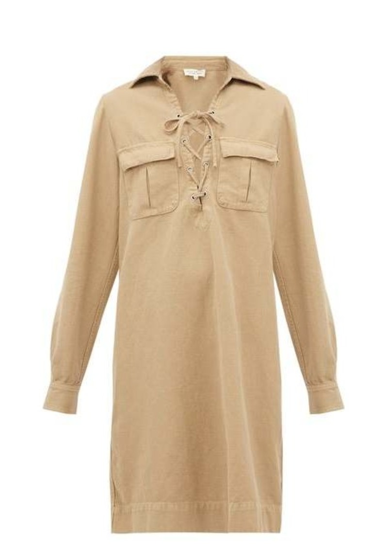 Nili Lotan Andrea lace-up cotton-blend shirtdress.