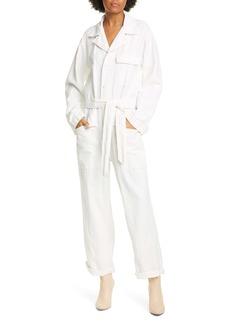 Nili Lotan Aria Belted Cotton & Linen Jumpsuit