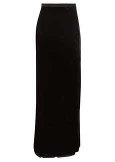Nili Lotan Azalea side-slit velvet maxi skirt