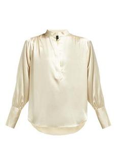 Nili Lotan Colette gathered silk-satin blouse