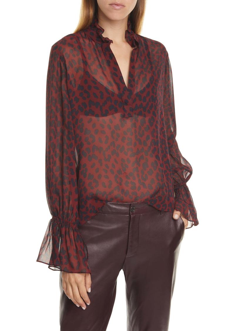 Nili Lotan Demi Leopard Print Silk Top
