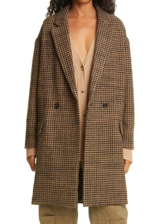 Nili Lotan Dylan Houndstooth Double Breasted Virgin Wool Coat