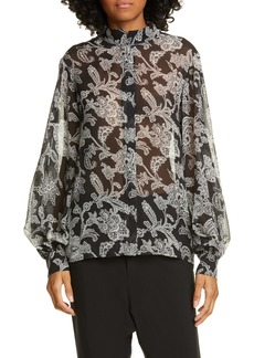 Nili Lotan Evelyn Leopard Print Silk Blouse