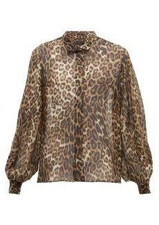 Nili Lotan Evelyn leopard-print silk-chiffon shirt
