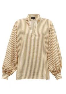 Nili Lotan Joey stripe-jacquard cotton-blend blouse