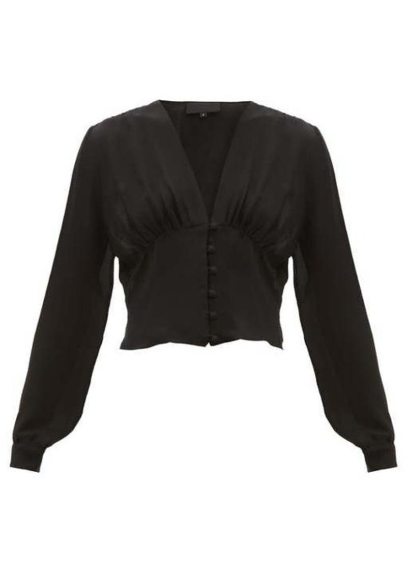Nili Lotan Laila button-down silk-georgette blouse