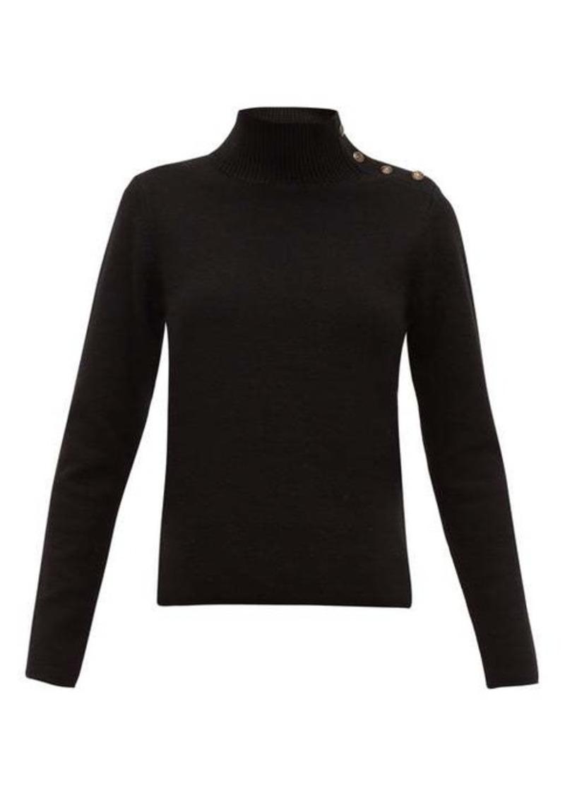 Nili Lotan Leonard buttoned roll-neck wool-blend sweater