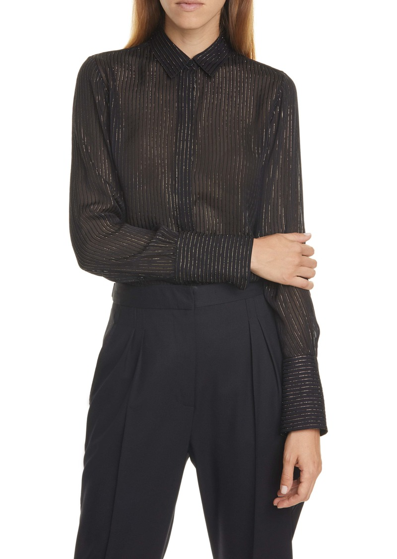 Nili Lotan Lleida Metallic Stripe Silk Shirt