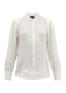 Nili Lotan Lorena quilted-panel silk blouse