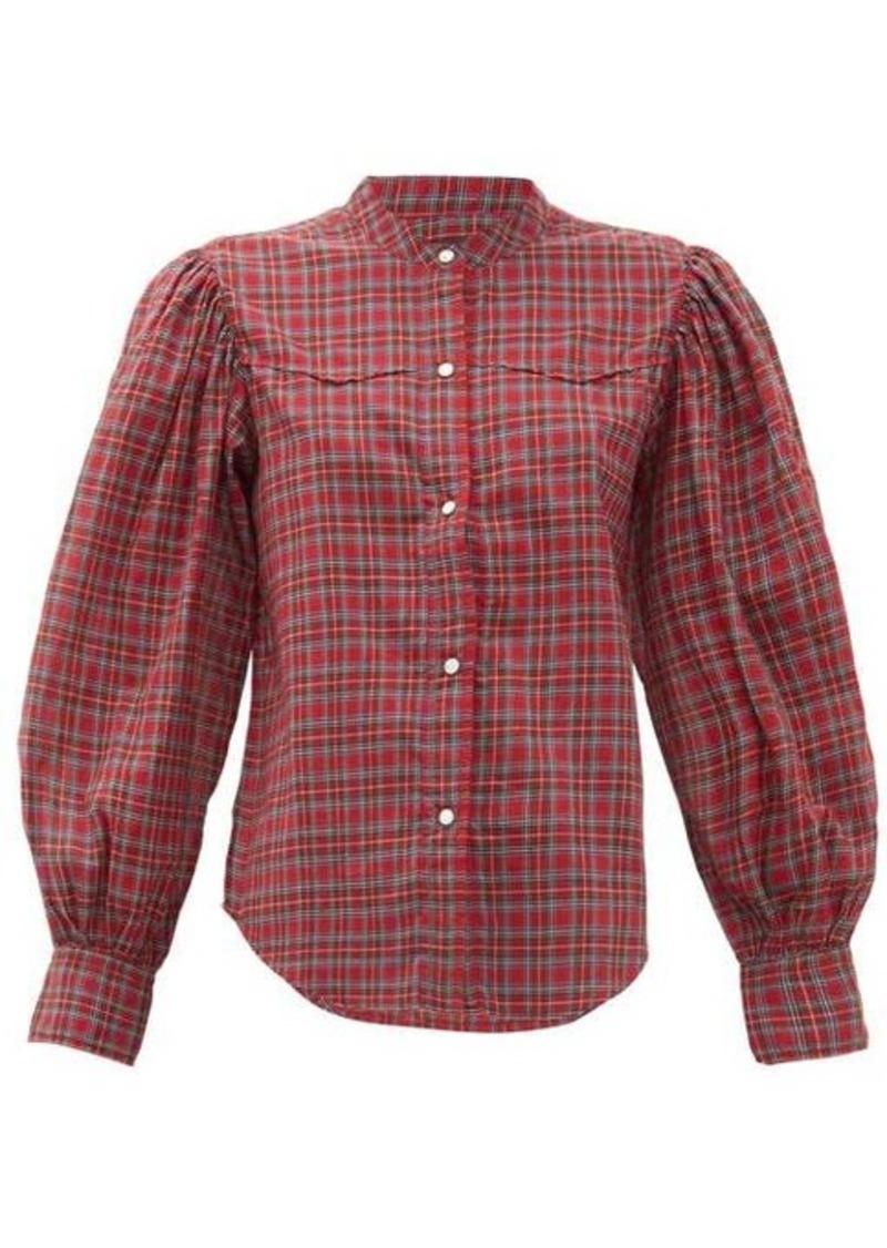 Nili Lotan Maisie balloon-sleeve checked cotton shirt