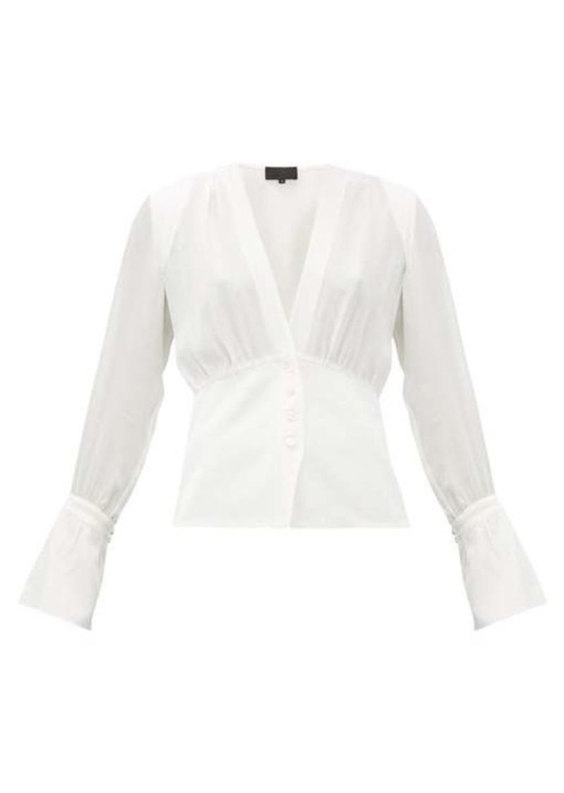 Nili Lotan Mariana poet-sleeve V-neck silk-crepe blouse