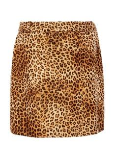 NILI LOTAN Rivoli Leopard-Print Cotton Mini Skirt