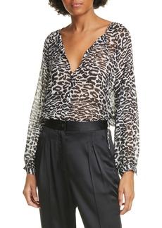 Nili Lotan Rosette Leopard Print Silk Top